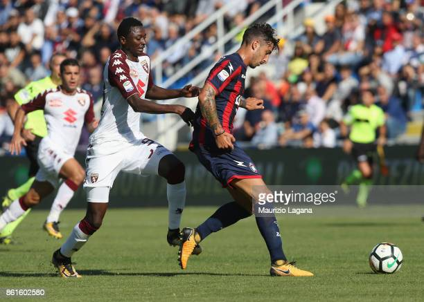Federico Ceccherini of Crotone competes for the ball with Umar Sadiq of Torino during the Serie A match between FC Crotone and Torino FC at Stadio...