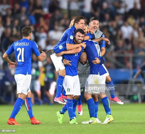 Federico Chiesa Andrea Petagna during the UEFA European Under21 match between Italy and Germany on June 24 2017 in Krakow Poland