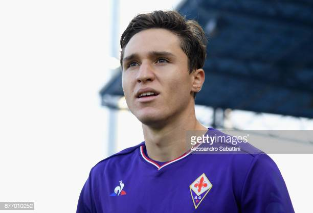 Federico Chiesa of ACF Fiorentina looks on before the Serie A match between Spal and ACF Fiorentina at Stadio Paolo Mazza on November 19 2017 in...