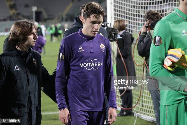 Federico Chiesa of ACF Fiorentina shows his dejection during the UEFA Europa League Round of 32 second leg match between ACF Fiorentina and Borussia...