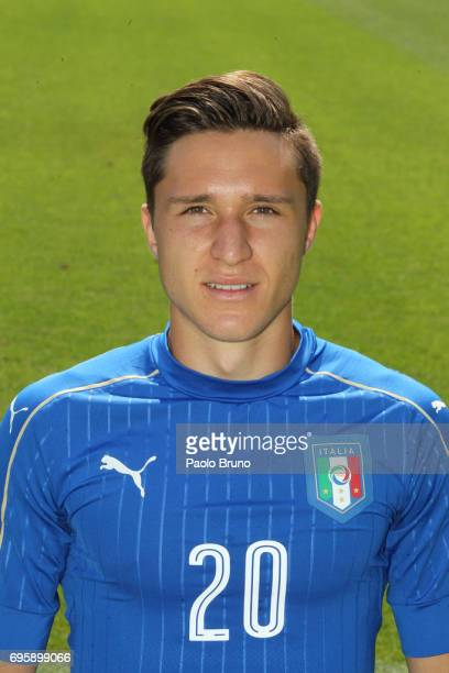 Federico Chiesa of Italy U21 poses during the official team photo at Centro Sportivo Fulvio Bernardini on June 14 2017 in Rome Italy