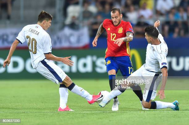 Federico Chiesa Sandro Ramirez and Lorenzo Pellegrini during the UEFA European Under21 match between Spain and Italy on June 27 2017 in Krakow Poland