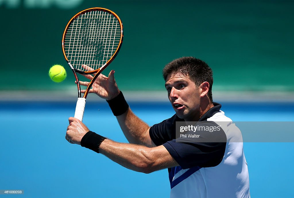 <a gi-track='captionPersonalityLinkClicked' href=/galleries/search?phrase=Federico+Delbonis&family=editorial&specificpeople=8904860 ng-click='$event.stopPropagation()'>Federico Delbonis</a> of Argentina plays a backhand during his first round match against Donald Young of the USA during day two of the Heineken Open at the ASB Tennis Centre on January 7, 2014 in Auckland, New Zealand.
