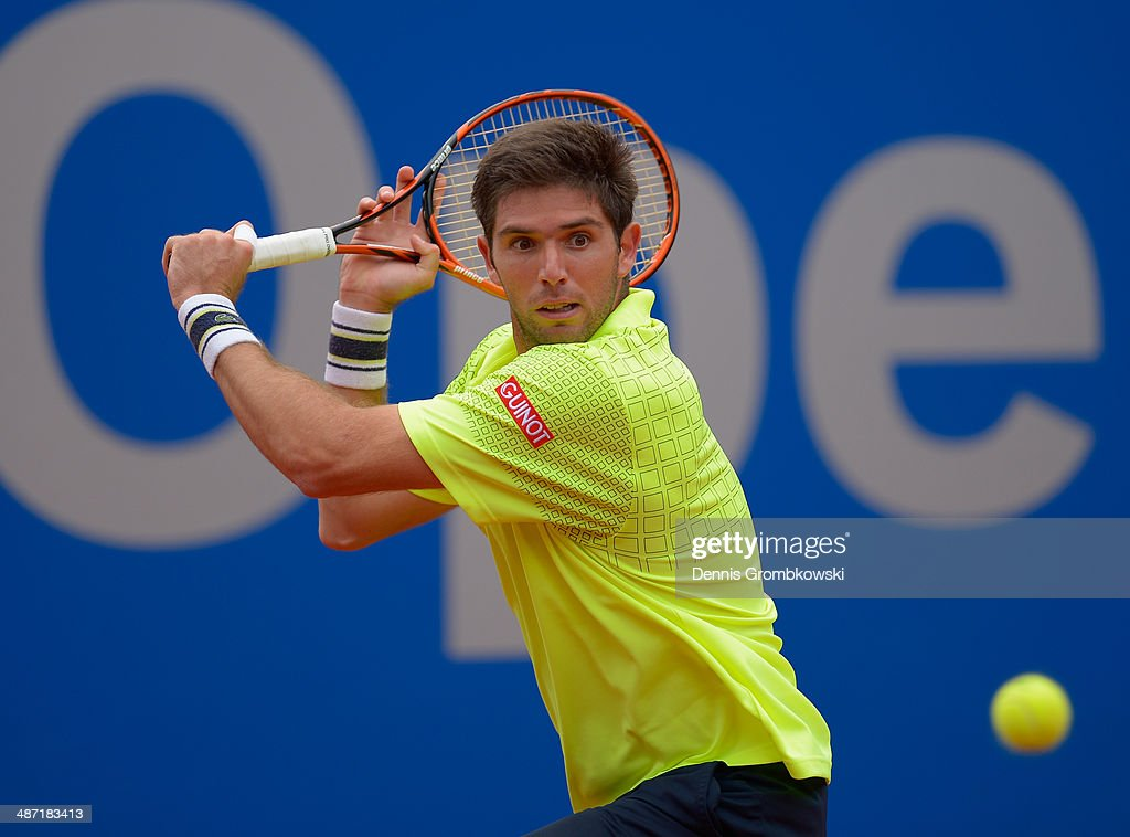<a gi-track='captionPersonalityLinkClicked' href=/galleries/search?phrase=Federico+Delbonis&family=editorial&specificpeople=8904860 ng-click='$event.stopPropagation()'>Federico Delbonis</a> of Argentina plays a backhand during his match against Nikolay Davydenko of Russia during the BMW Open on April 28, 2014 in Munich, Germany.