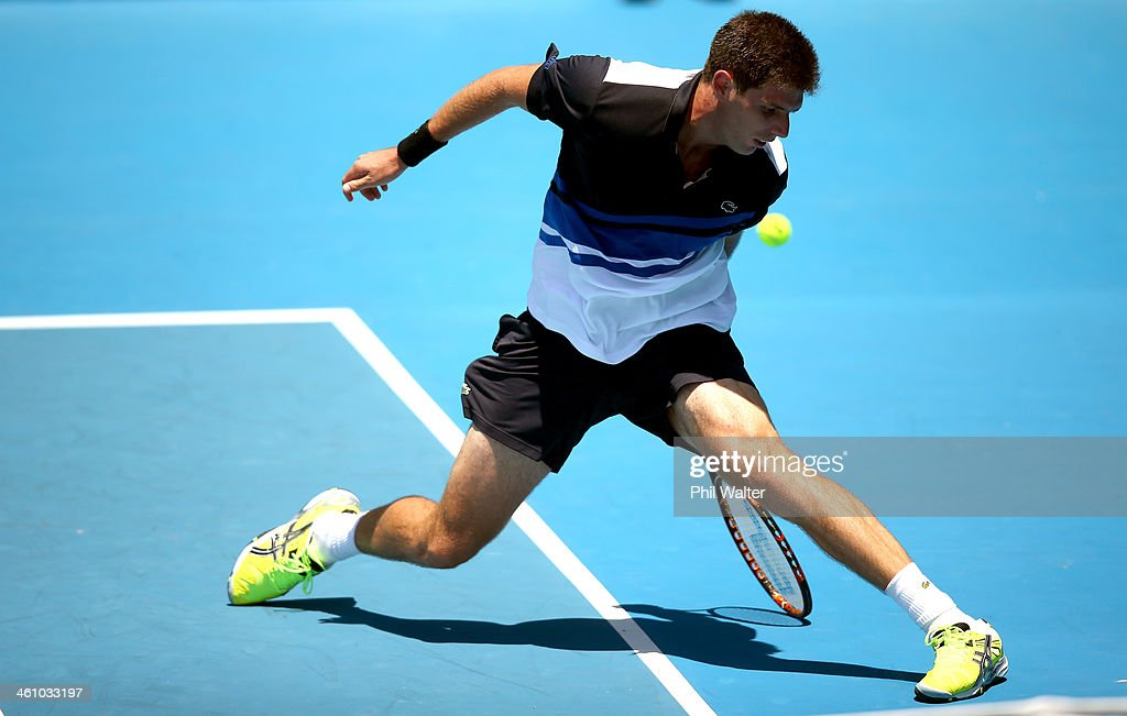 <a gi-track='captionPersonalityLinkClicked' href=/galleries/search?phrase=Federico+Delbonis&family=editorial&specificpeople=8904860 ng-click='$event.stopPropagation()'>Federico Delbonis</a> of Argentina plays a shot between his legs during his first round match against Donald Young of the USA during day two of the Heineken Open at the ASB Tennis Centre on January 7, 2014 in Auckland, New Zealand.