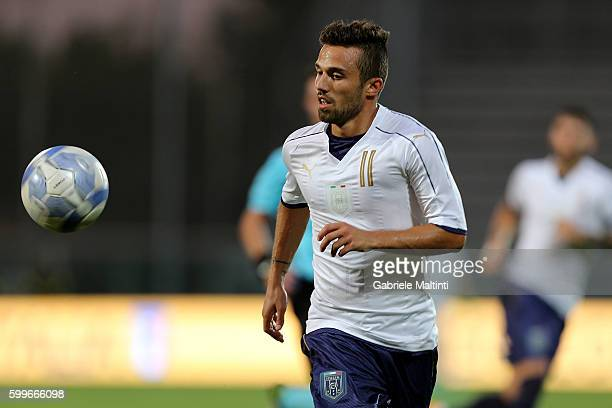 Federico Di Francesco of Itay U21 in action during the UEFA European U21 Championships Qualifier match between Italy U21 and Andorra U21 at Stadio...