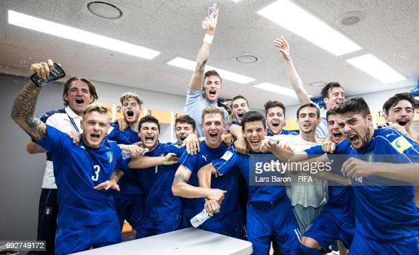 Federico Dimarco of Italy celebrates with team mates after winning the FIFA U20 World Cup Korea Republic 2017 Quarter Final match between Italy and...