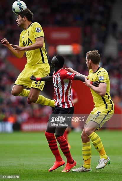 Federico Fazio and Jan Vertonghen of Spurs foil Sadio Mane of Southampton during the Barclays Premier League match between Southampton and Tottenham...