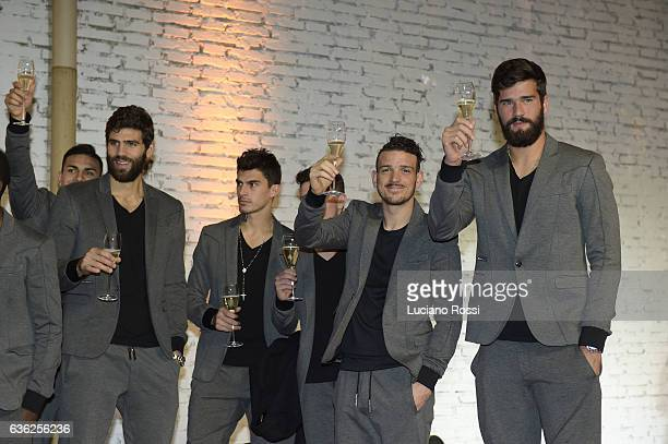 Federico Fazio Diego Perotti Alessandro Florenzi and Alisson attend AS Roma Christmas Dinne on December 19 2016 in Rome Italy