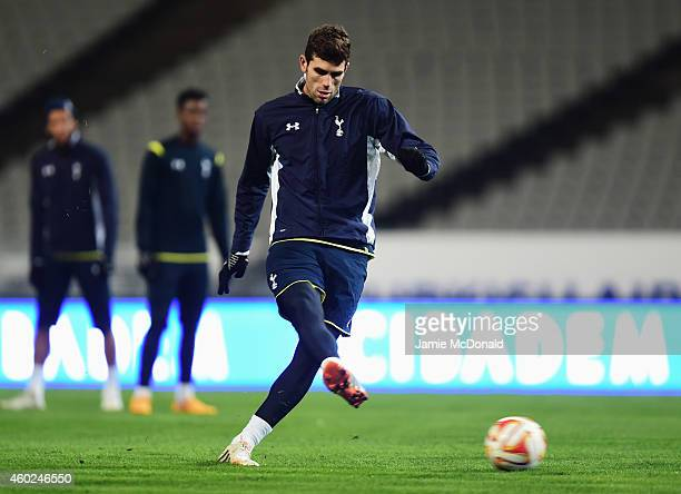 Federico Fazio in action during a Tottenham Hotspur training session ahead of the UEFA Europa League Group C match against Beskitas JK at Ataturk...