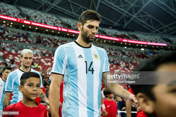 Federico Fazio of Argentina getting into the field during the International Test match between Argentina and Singapore at National Stadium on June 13...