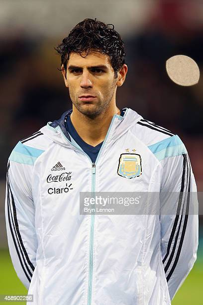 Federico Fazio of Argentina stands during the playing of national anthems prior to the International Friendly between Argentina and Croatia at Boleyn...