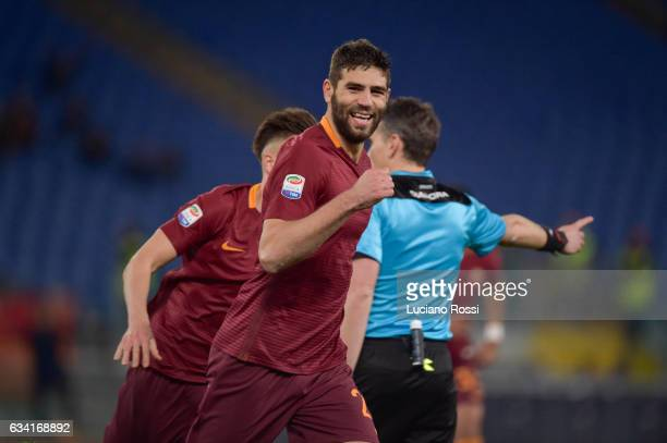 Federico Fazio of AS Roma celebrates after scoring a goal during the Serie A match between AS Roma and ACF Fiorentina at Stadio Olimpico on February...