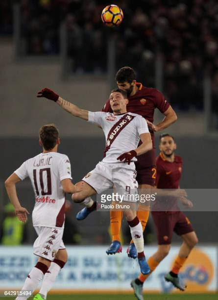 Federico Fazio of AS Roma competes for the ball with Andrea Belotti of FC Torino during the Serie A match between AS Roma and FC Torino at Stadio...