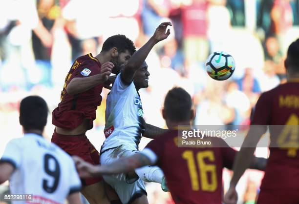 Federico Fazio of AS Roma competes for the ball with Seko Fofana of Udinese Calcio during the Serie A match between AS Roma and Udinese Calcio at...