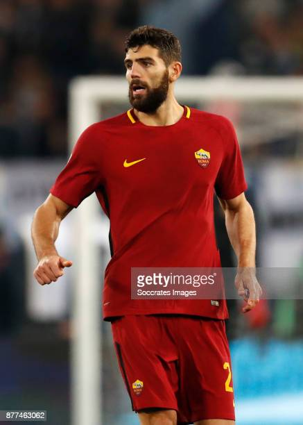 Federico Fazio of AS Roma during the Italian Serie A match between AS Roma v Lazio at the Stadio Olimpico on November 18 2017 in Rome Italy