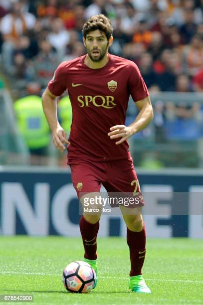 Federico Fazio of AS Roma during the Serie A match between AS Roma and SS Lazio at Stadio Olimpico on April 30 2017 in Rome Italy