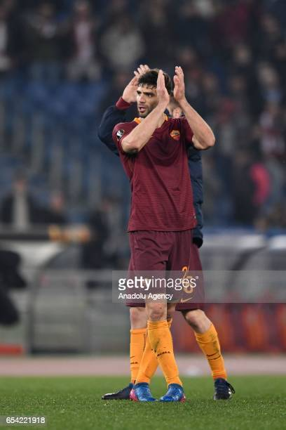 Federico Fazio of AS Roma gestures after the UEFA Europa League soccer match between AS Roma and Olympique Lyonnais at Stadio Olimpico on March 16...