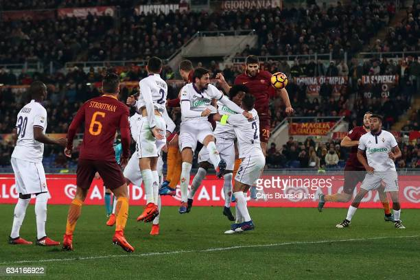 Federico Fazio of AS Roma heads his side's second goal during the Serie A match between AS Roma and ACF Fiorentina at Stadio Olimpico on February 7...
