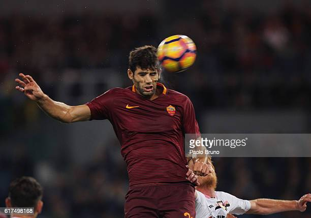 Federico Fazio of AS Roma in action during the Serie A match between AS Roma and US Citta di Palermo at Stadio Olimpico on October 23 2016 in Rome...