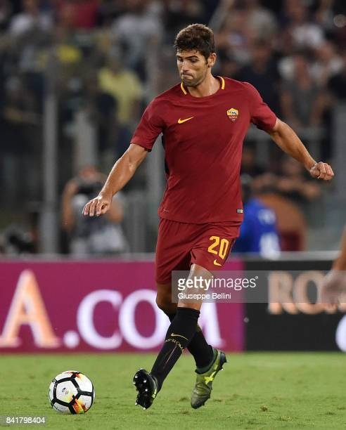Federico Fazio of AS Roma in action during the Serie A match between AS Roma and FC Internazionale at Stadio Olimpico on August 26 2017 in Rome Italy