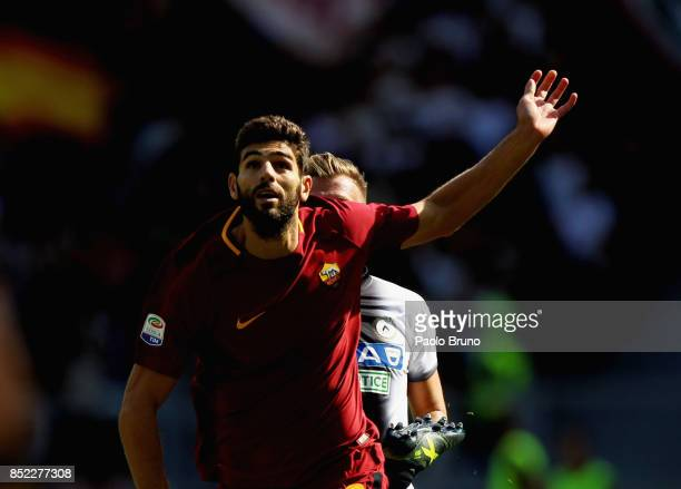 Federico Fazio of AS Roma in action during the Serie A match between AS Roma and Udinese Calcio at Stadio Olimpico on September 23 2017 in Rome Italy