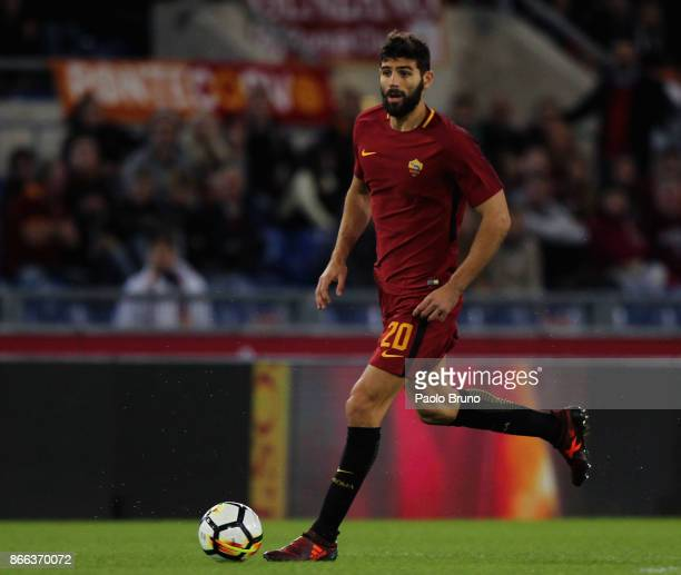 Federico Fazio of AS Roma in action during the Serie A match between AS Roma and FC Crotone at Stadio Olimpico on October 25 2017 in Rome Italy