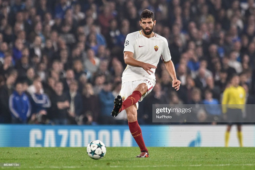 Federico Fazio of Roma during the UEFA Champions League match between Chelsea v AS Roma at Stamford Bridge Stadium, London, United Kingdom on 18 October 2017.