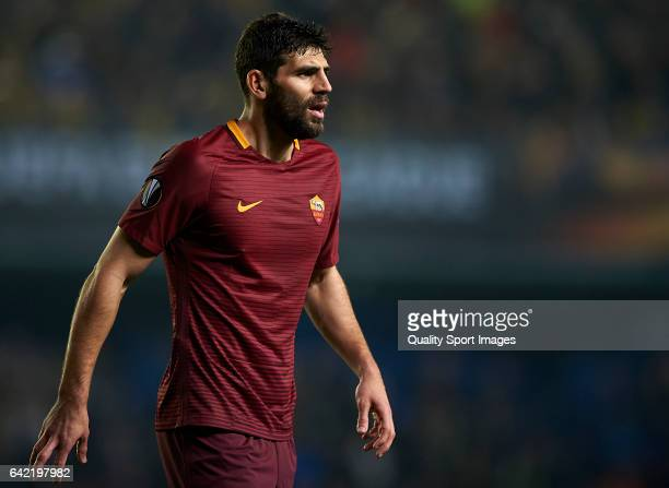 Federico Fazio of Roma looks on during the UEFA Europa League Round of 32 first leg match between Villarreal CF and AS Roma at Estadio de la Ceramica...