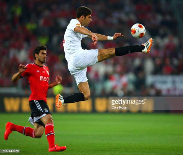 Federico Fazio of Sevilla jumps to kick the ball during the UEFA Europa League Final match between Sevilla FC and SL Benfica at Juventus Stadium on...