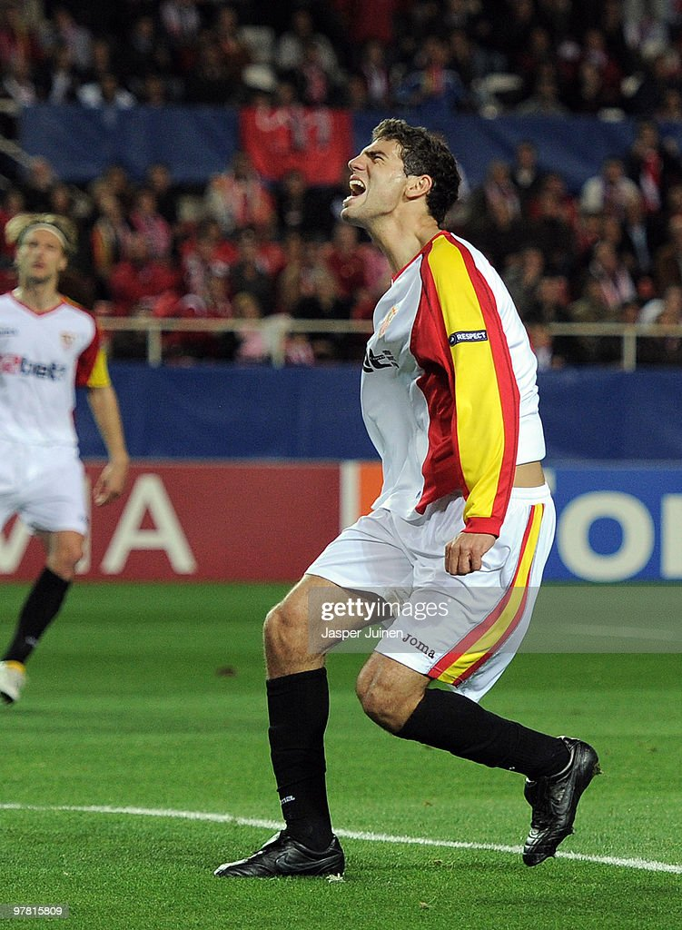 Federico Fazio of Sevilla reacts during the UEFA Champions League round of sixteen second leg match between Sevilla and CSKA Moscow at the Estadio Ramon Sanchez Pizjuan on March 16, 2010 in Seville, Spain. CSKA Moscow won the match 2-1.