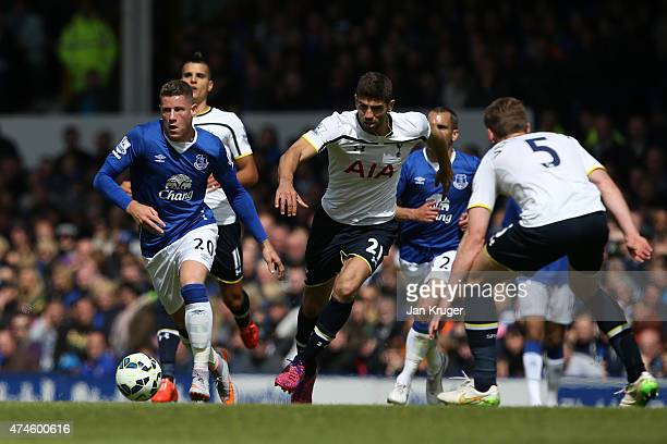 Federico Fazio of Spurs and Ross Barkley of Everton compete for the ball during the Barclays Premier League match between Everton and Tottenham...