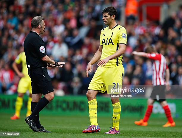 Federico Fazio of Spurs in discussion with referee Jonathan Moss during the Barclays Premier League match between Southampton and Tottenham Hotspur...