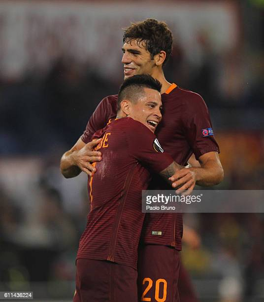 Federico Fazio with his teammate Manuel Iturbe of AS Roma celebrates after scoring the team's second goal during the UEFA Europa League match between...