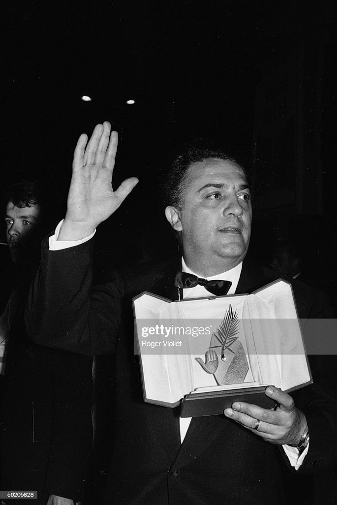 Federico Fellini and the Palme d'or received for 'Dolce Vita' Festival of Cannes 1960