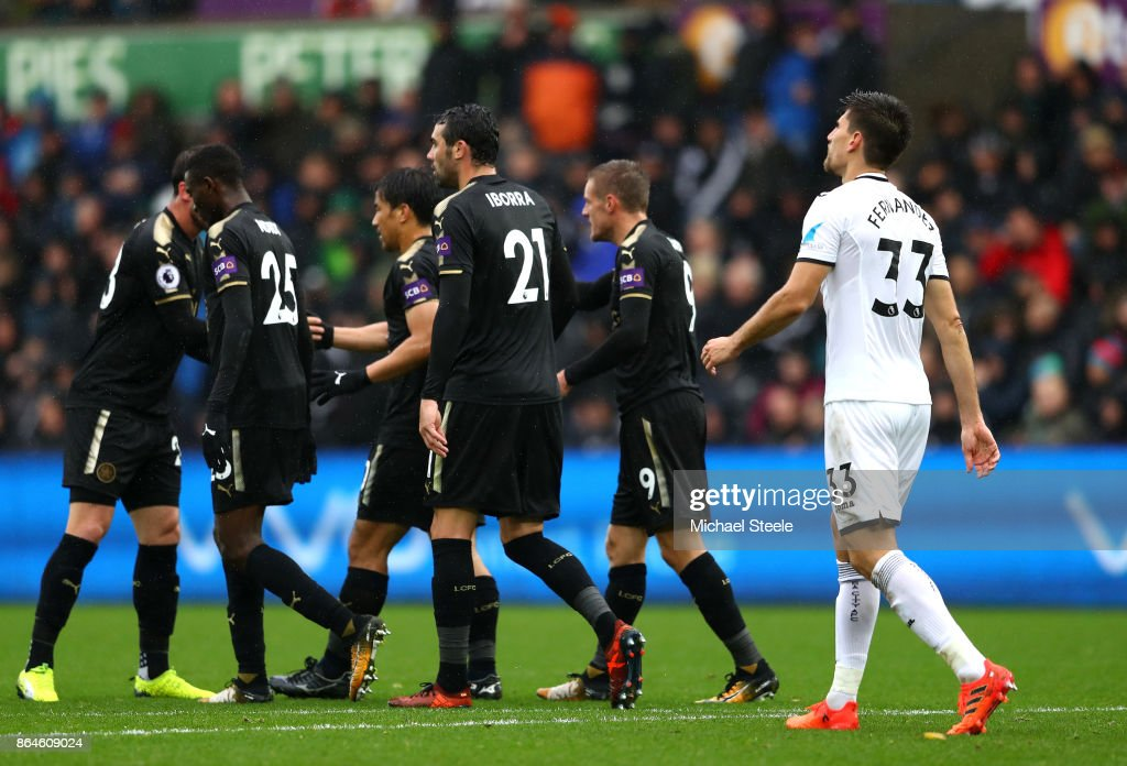 Federico Fernandez of Swansea City looks dejected after scoring an own goal during the Premier League match between Swansea City and Leicester City at Liberty Stadium on October 21, 2017 in Swansea, Wales.