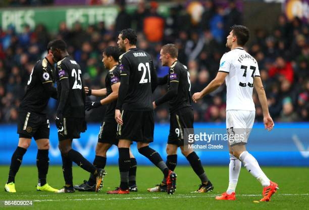 Federico Fernandez of Swansea City looks dejected after scoring an own goal during the Premier League match between Swansea City and Leicester City...