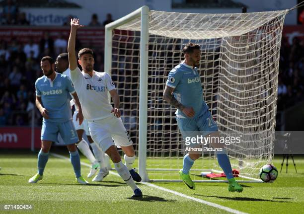 Federico Fernandez of Swansea City protests to the linesman to give a corner kick during the Premier League match between Swansea City and Stoke City...