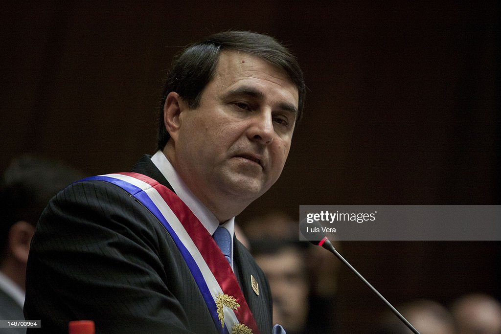 Federico Franco Gómez in his firts speech afther the jury as new president of the Republic of Paraguay at the National Congress on June 22 2012 in...