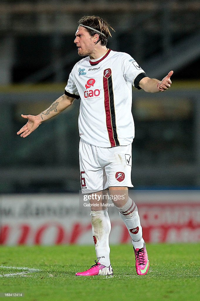 Federico Gerardi of Reggina Calcio celebrates the goal during the Serie B match between AS Livorno and Reggina Calcio at Stadio Armando Picchi on March 9, 2013 in Livorno, Italy.