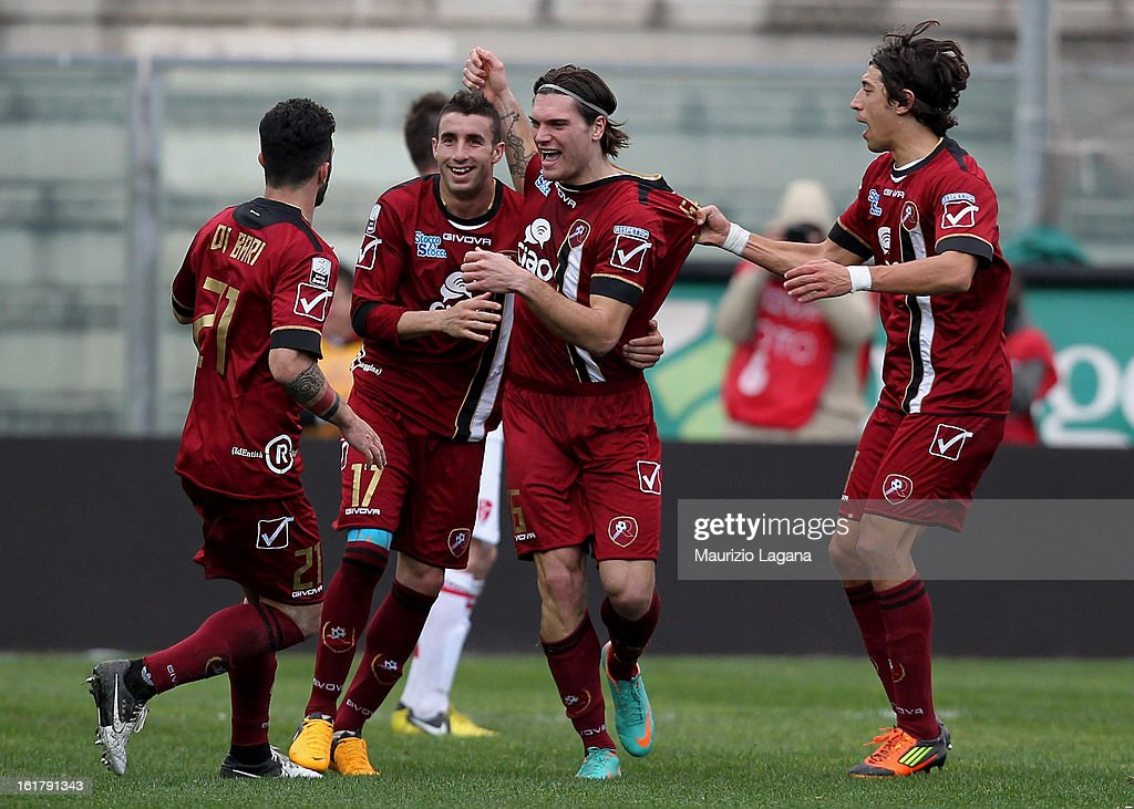 Federico Gerardi of Reggina celebrates with team-mates after scoring his team's equalising goal during the Serie B match between Reggina Calcio and Calcio Padova on February 16, 2013 in Reggio Calabria, Italy.