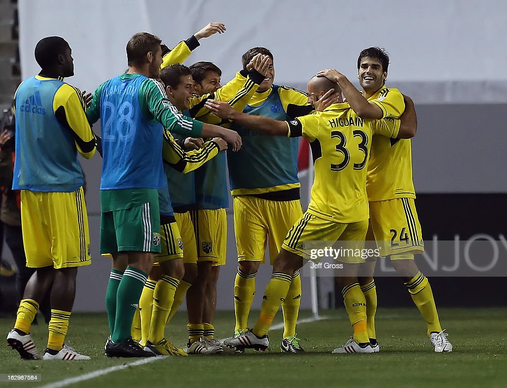 Federico Higuain #33 of the Columbus Crew celebrates his goal with his teammates in the second half against Chivas USA at The Home Depot Center on March 2, 2013 in Carson, California. The Crew defeated Chivas USA