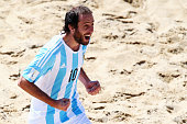 Federico Hilaire of Argentina celebrates a goal during the FIFA Beach Soccer World Cup Portugal 2015 Group A match between Japan and Argentina at...