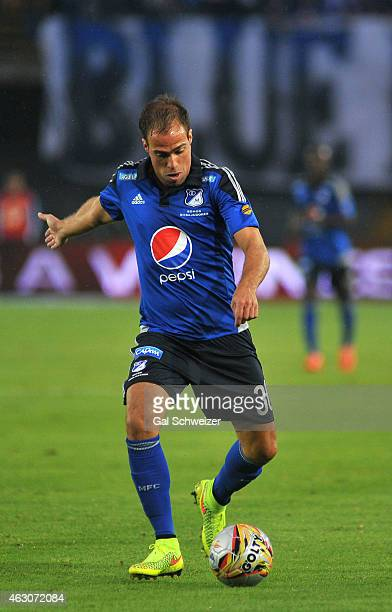 Federico Insua of Millonarios drives the ball during a match between Millonarios and Patriotas FC as part of second round of Liga Aguila 2015 at...
