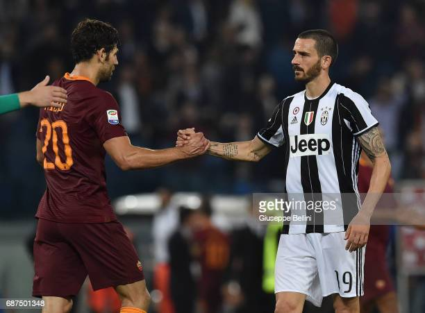 Federico Julian Fazio of AS Roma and Leonardo Bonucci of Juventus FC after the Serie A match between AS Roma and Juventus FC at Stadio Olimpico on...