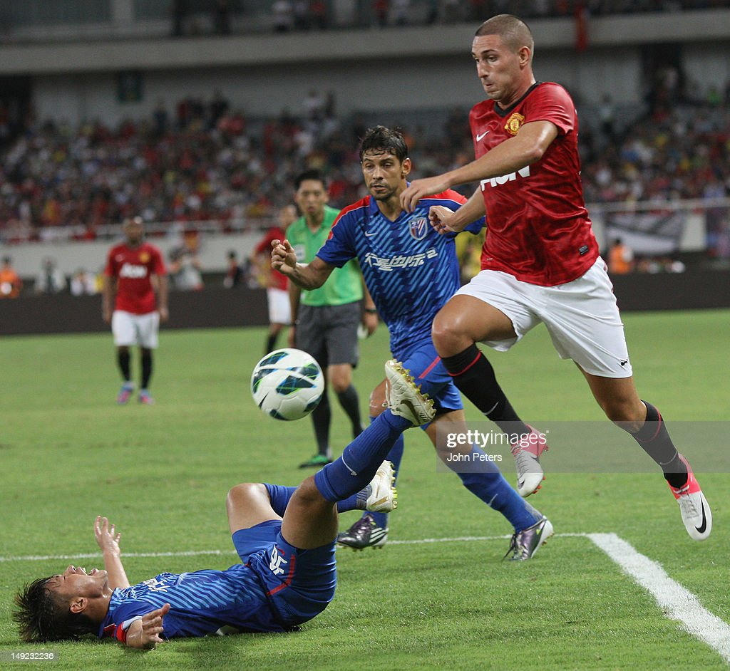 Federico Macheda of Manchester United in action during the preseason friendly match between Shanghai Shenhua and Manchester United at Shanghai...