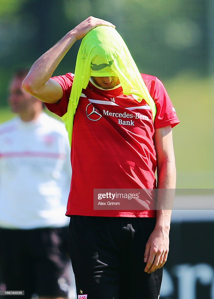<a gi-track='captionPersonalityLinkClicked' href=/galleries/search?phrase=Federico+Macheda&family=editorial&specificpeople=5621336 ng-click='$event.stopPropagation()'>Federico Macheda</a> reacts during a VfB Stuttgart training session at the club's premises on May 8, 2013 in Stuttgart, Germany.