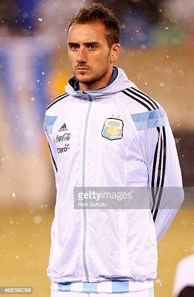 Federico Mancuello of Argentina before the start of an international friendly match between against Ecuador at Metlife Stadium on March 31 2015 in...