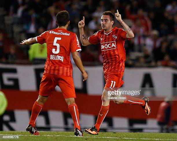 Federico Mancuello of Independiente celebrates after scoring the first goal of his team during a match between River Plate and Independiente as part...