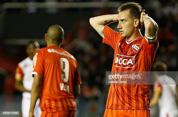 Federico Mancuello of Independiente laments during a match between Independiente and Independiente Santa Fe as part of Quarter Finals of Copa...